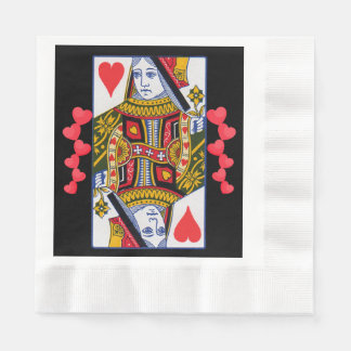 Vintage Colorful Ornate Queen With Hearts Paper Napkins