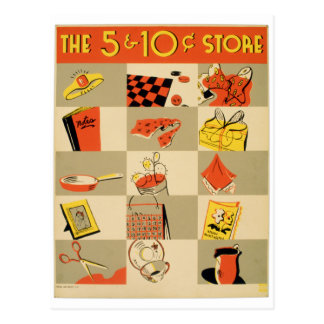 Vintage Colorful Retail Five and Dime Store WPA Postcard