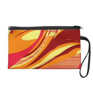 Vintage Colorful Retro Funky Painting Abstract Art Wristlet