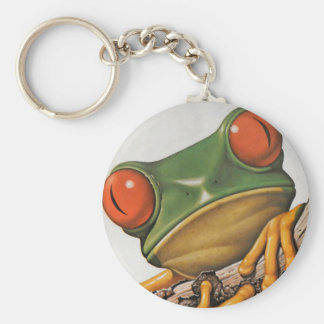 Vintage Colorful Tree Frog Basic Round Button Keychain