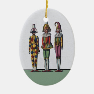 Vintage Colorful Whimsical Three Jester Dolls Ceramic Ornament
