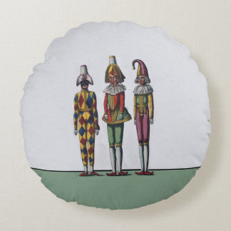 Vintage Colorful Whimsical Three Jester Dolls Round Pillow