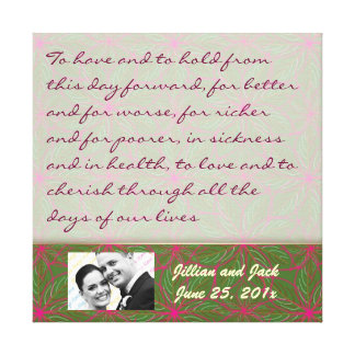 Vintage Colors Poinsettia WEDDING Vows Display Canvas Print