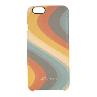 Vintage Colors Wave Striped Clear iPhone 6 case
