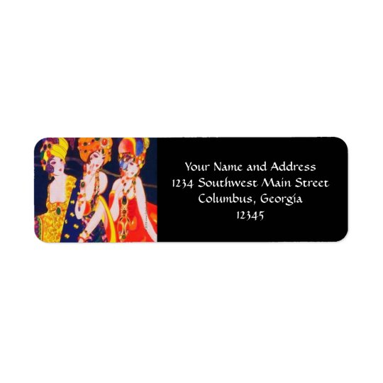 Vintage Colourful Deco Women with Jewellery Return Address Label