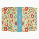 Vintage colourful floral pattern 3 ring binders