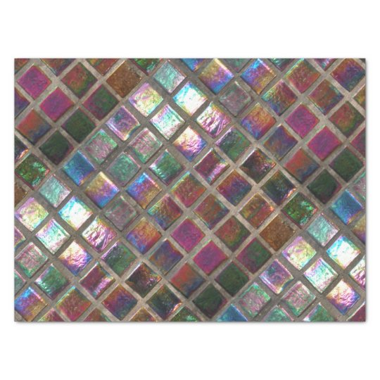 Vintage Colourful Glazed Mosaic Tiles Print Tissue Paper