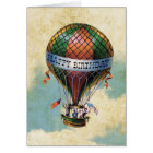 Vintage Colourful Hot Air Balloon Happy Birthday Card