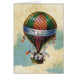 Vintage Colourful Hot Air Balloon Happy Birthday Greeting Card