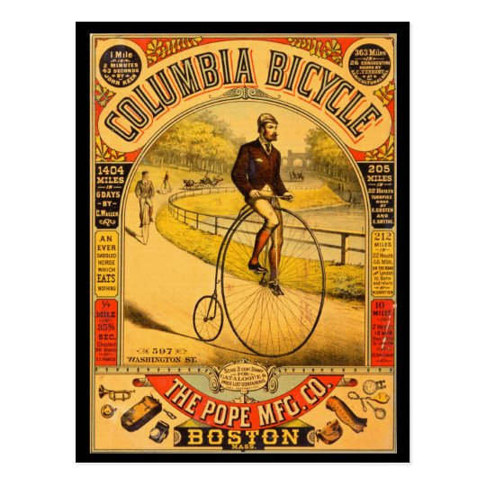 Vintage Columbia Bicycle Reprint Postcard