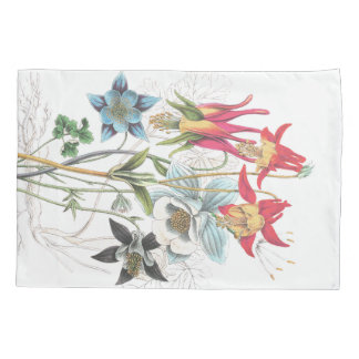 Vintage Columbine Flower Floral Bouquet Pillowcase