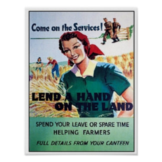 Vintage Come on the Service Lend a Hand on the Lan Poster