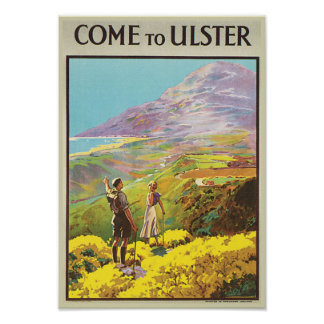 Vintage Come to Ulster British Isles Travel Poster