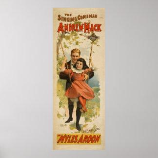 Vintage Comedian Performing Arts Poster