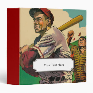 Vintage Comic Book Baseball Player at Bat Vinyl Binders