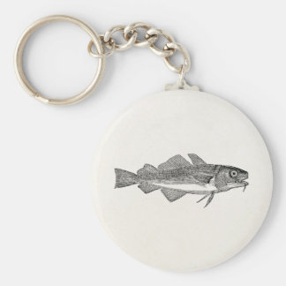 Vintage Common Cod Fish - Aquatic Fishes Template Basic Round Button Keychain