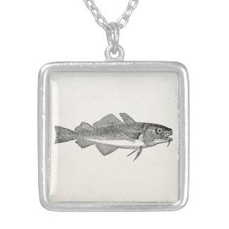 Vintage Common Cod Fish - Aquatic Fishes Template Silver Plated Necklace