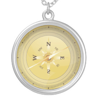 vintage compass effect silver plated necklace