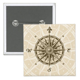 Vintage Compass Rose 2 Inch Square Button