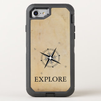 Vintage Compass Rose Explore OtterBox Defender iPhone 8/7 Case