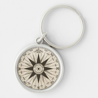 Vintage Compass Rose Keychain