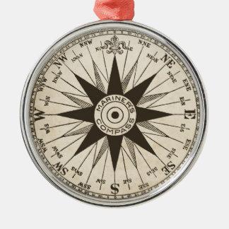 Vintage Compass Rose Metal Ornament