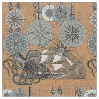 Vintage Compass Rose Octopus Art Print Drawing Fabric