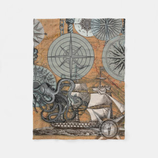 Vintage Compass Rose Octopus Art Print Drawing Fleece Blanket