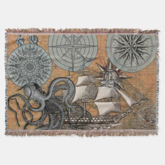 Vintage Compass Rose Octopus Art Print Drawing Throw Blanket