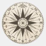 Vintage Compass Rose Round Sticker