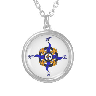 Vintage Compass Rose Silver Plated Necklace