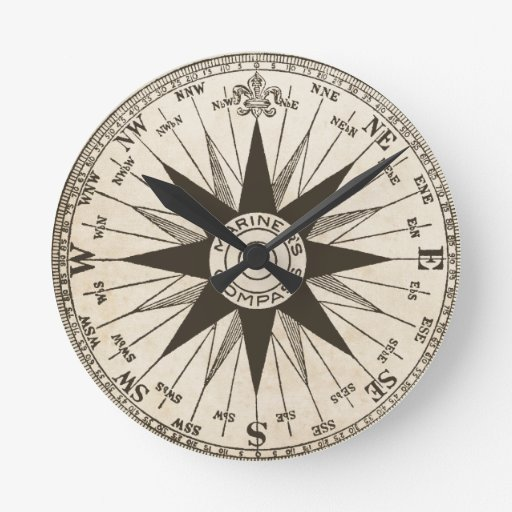 vintage compass rose wall clock zazzle