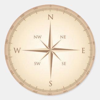 Vintage compass round sticker