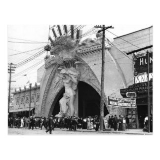 Vintage Coney Island Angel Entrance on Postcard
