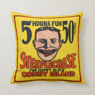 Vintage Coney Island Funny Face Throw Pillow