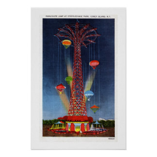 Vintage Coney Island  parachute jump Poster