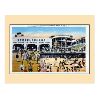 Vintage Coney Island steeplechase boardwalk beach Postcard