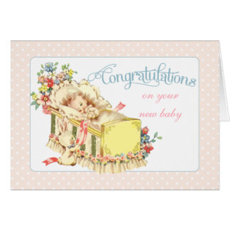 Vintage Congratulations for New Baby Card