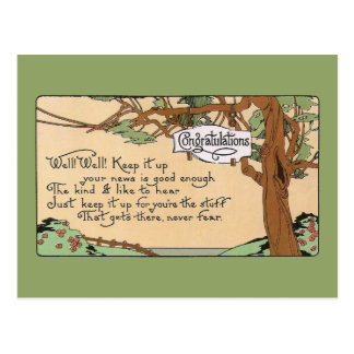 Vintage Congratulatory Verse and Tree Postcard