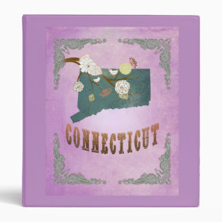 Vintage Connecticut State Map- Grape Purple 3 Ring Binder