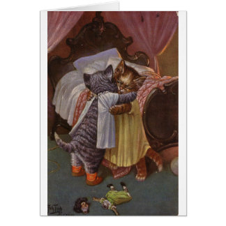 Vintage - Consoling a Crying Kitten, Card