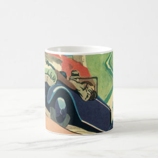 Vintage Convertible Car on a Country Road Classic White Coffee Mug