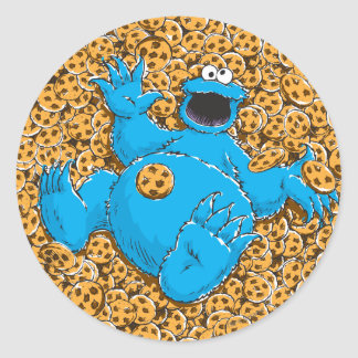 Vintage Cookie Monster and Cookies Round Sticker