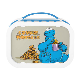Vintage Cookie Monster Eating Cookies Lunchbox