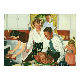Vintage Cooking Thanksgiving Dinner in the Kitchen Card