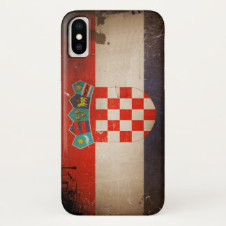 Vintage Cool Grungy Croatia Flag Design iPhone X Case