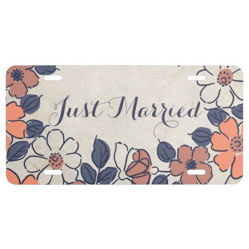 Vintage Coral and Navy Floral Wedding License Plate