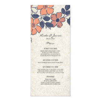 "Vintage Coral and Navy Floral Wedding Menu 4"" X 9.25"" Invitation Card"