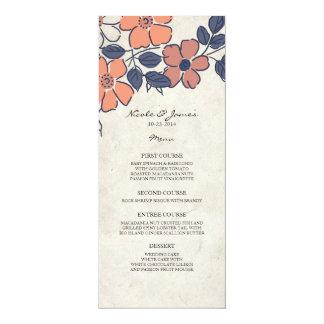 "Vintage Coral and Navy Floral Wedding Menu 4"" X 9.25"" Invitation Card"