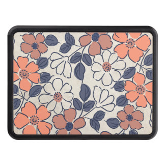Vintage Coral and Navy Floral Wedding Trailer Hitch Covers